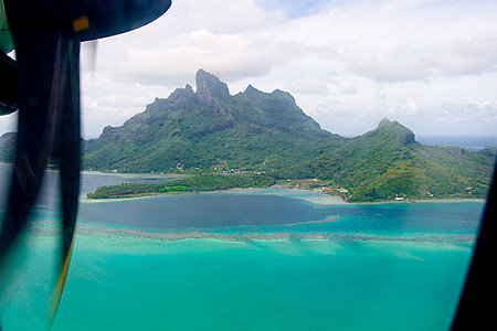 View from plane flying into Bora Bora