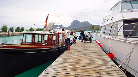 Resort Boats picking up guests from Bora Bora Airport