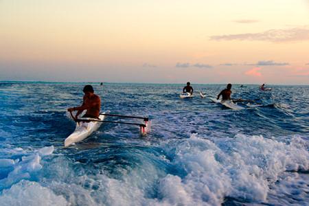Tahiti outrigger canoes