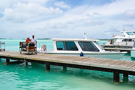 The Intercontinental's boat picking up guests from Bora Bora Airport