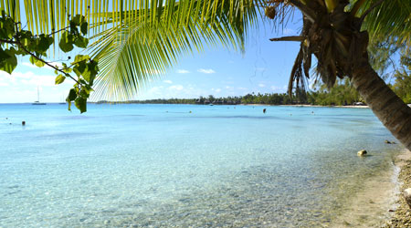 Rangiroa fringed by beaches