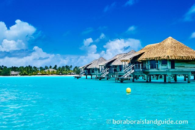 Over water bungalows on Bora Bora