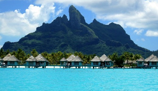 Mt Otemanu with Over Water Bungalows