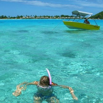 Snorkeling from the boat in Bora Bora