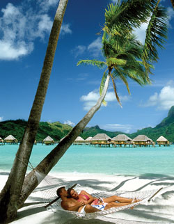 Bora Bora honeymoon in hammock