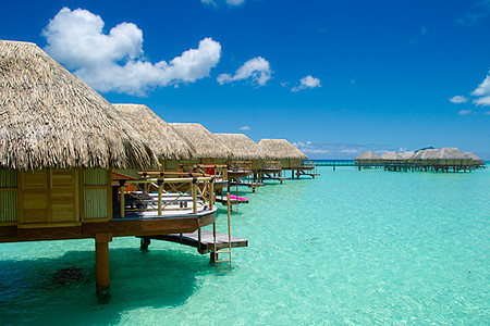 Over water bungalows in Bora Bora