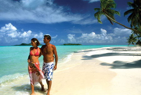 Bora Bora beach honeymoon couple