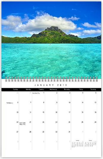 Bora Bora Beaches 2019 Calendar