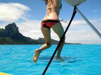 Jumping in Bora Bora Lagoon