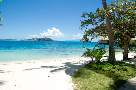 View from a beach bungalow at the Maitai Bora Bora
