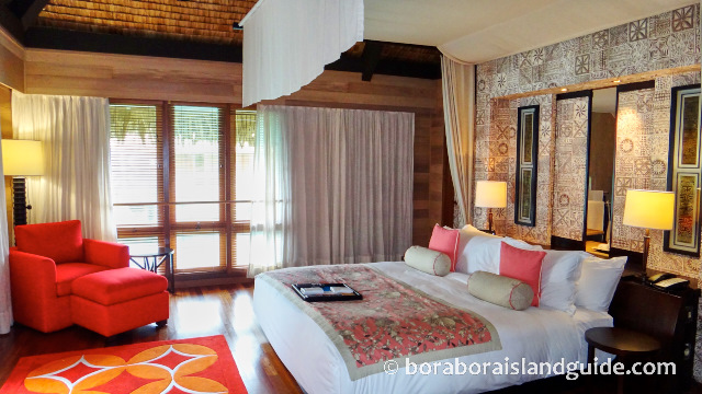 St Regis overwater bungalow bedroom