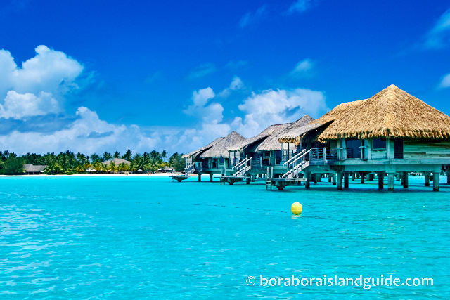 Over water bungalows on Bora Bora