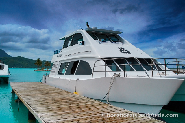 hotel shuttle boats at Bora Bora airport