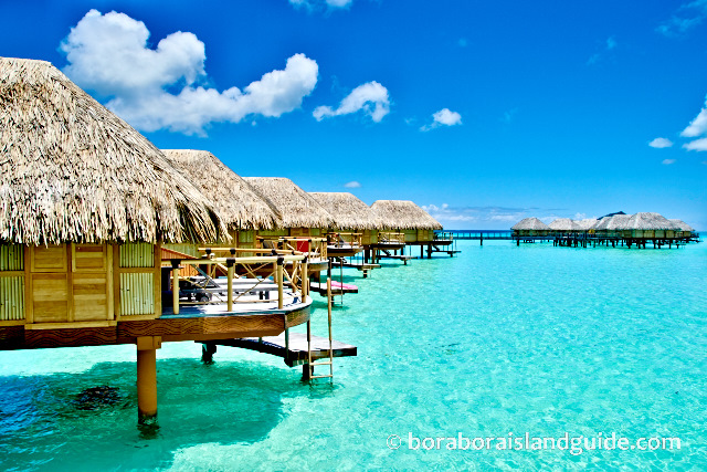 Over water bungalows in Bora Bora